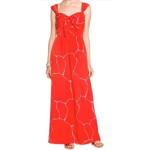 Susana Monaco Dress NWT Sz 4 Maxi Red Front tie